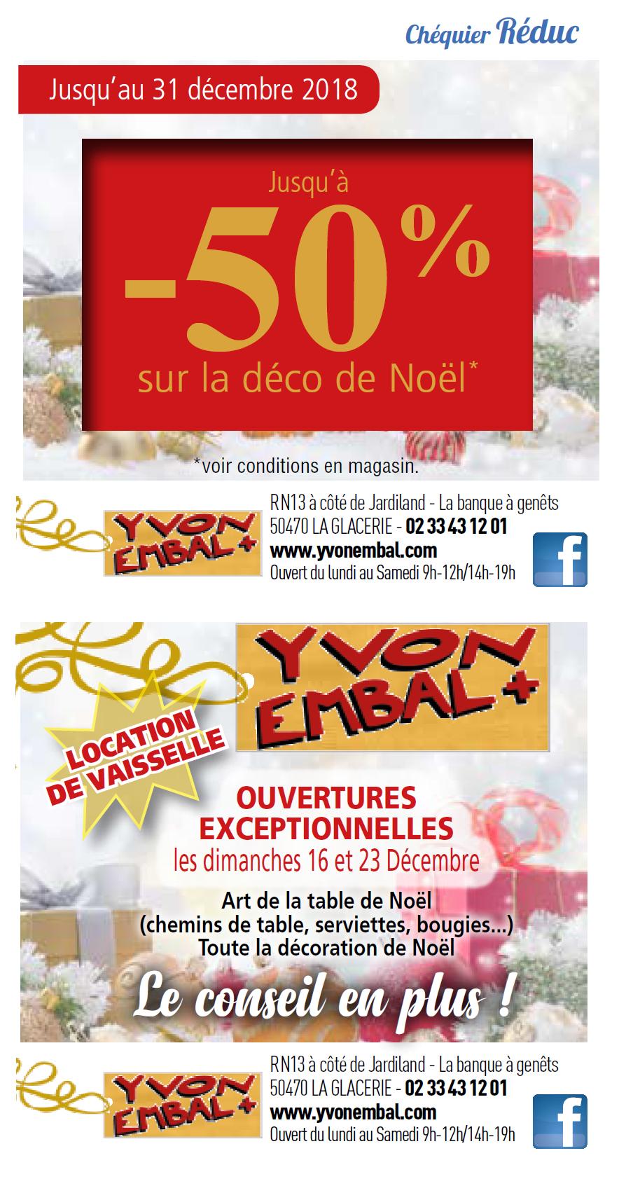 Ouvertures du dimanche et réductions de décembre d'Yvon Embal+ pour la déco à Cap'Nor
