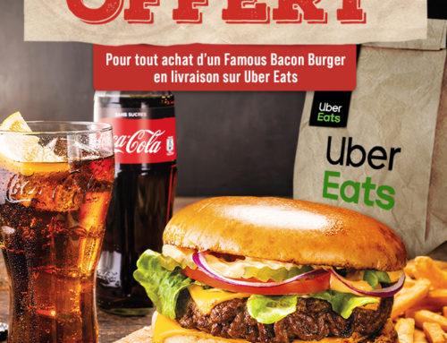 Offre Buffalo Grill sur UberEats.com: 1 burger offert!