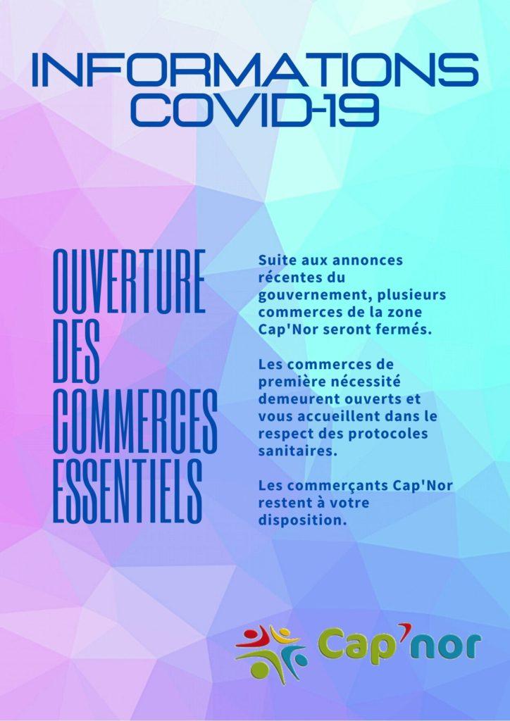 Informations reconfinement ouverture des commerces zone Cap'Nor