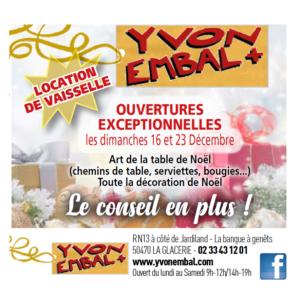 Ouvertures des dimanches de décembre d'Yvon Embal+ pour la déco à Cap'Nor